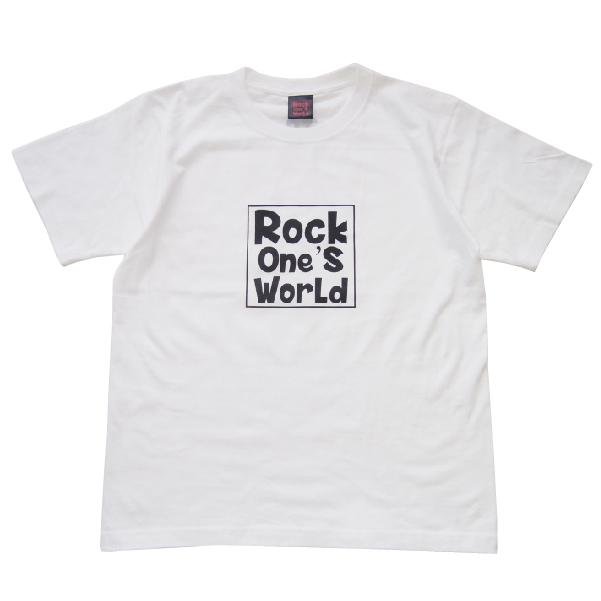 画像1: ROCK ONE'S WORLD ロックワンズワールド SQUARE LOGO TEE-WHITE/BLACK- (1)